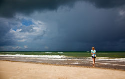 Stormy weather. On the beach royalty free stock image