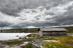Stormy weather. Landscape on the mountain passage between Oslo and Bergen in stormy weather Stock Photo