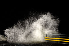 Stormy weather. And breaking waves at night royalty free stock photos