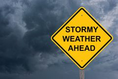 Stormy Weather Ahead Caution Sign royalty free stock photos