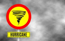 Stormy Weather Ahead Sign Board, Hurricane indication.   Stock Photo