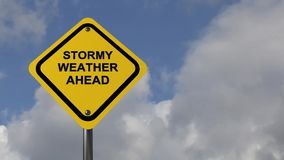 Stormy weather ahead. Yellow traffic warning sign with black text stormy weather ahead against blue skies and drifting clouds stock video