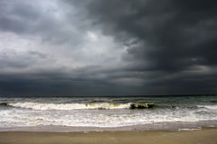Stormy weather, Atlantic ocean coast. MD, USA Royalty Free Stock Image