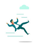 Stormy Weather or Barriers in Business Concept. Stormy weather or barriers in business vector. Flat design. Strong wind knocks down man in business suit Stock Photos