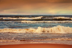 Stormy weather on the beach Royalty Free Stock Image