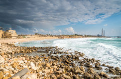 Stormy weather at Caesaria, Israel Royalty Free Stock Image
