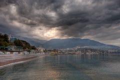 Stormy weather clouds. Approaching the beach. Yalta, Crimea, Ukraine stock photo