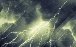 Stormy weather, dakr sky with lighnings stock image