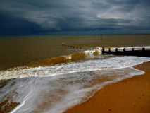 Stormy weather. Fisrt time in Southwold, UK, and fisrt storm coming from the seaside Royalty Free Stock Photos