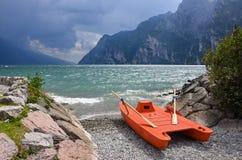 Stormy weather at garda lake Stock Images