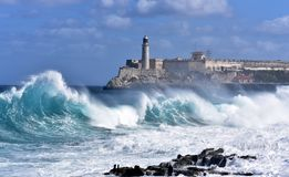 Stormy weather in Havana. Stormy weather hitting The Malecon in Havana, waves crash over the protective seawall in these dramatic weather images. Cuba Royalty Free Stock Photography