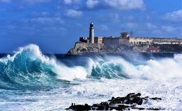 Stormy weather in Havana. Stormy weather hitting The Malecon in Havana, waves crash over the protective seawall in these dramatic weather images. Cuba Royalty Free Stock Images