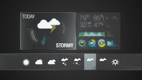 Stormy, Weather icon set animation stock footage