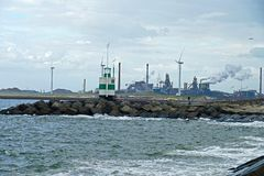Industrial harbour in northern netherlands stock photo