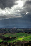 Stormy weather landscape with beautiful light Stock Images