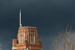 Stormy weather in London. Threatening sky over St Thomas a Becket Catholic Church in Wandsworth Stock Photo