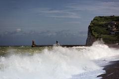 Stormy weather at the normandy coast Stock Image