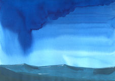 Stormy weather on open sea. Watercolor painting about a blue stormy cloud on rough sea with some waves Royalty Free Stock Photo
