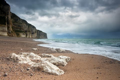 Stormy weather over Normandy coast Stock Image