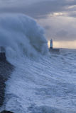 Stormy weather at Porthcawl lighthouse, South Wales, UK. royalty free stock image