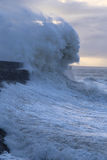 Stormy weather at Porthcawl lighthouse, South Wales, UK. Royalty Free Stock Photos