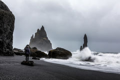 Stormy Weather at Reynisfjara Volcanic Beach. In Iceland stock photos