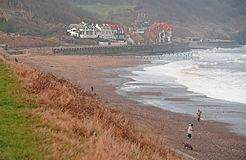 Stormy weather at Sandsend. Royalty Free Stock Images