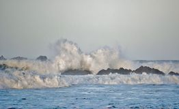Stormy weather.... Seascape of stormy weather with atlantic ocean waves stock photos