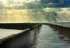 Stormy weather. sunbeams clouds & sea Stock Photos