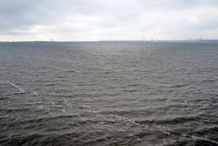Stormy weather on the Volga river panorama. Stock Image