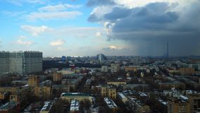 Stormy weather winter time lapse with distant Ostankino TV tower, Moscow. 4K stock video