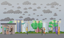 Stormy, windy and rainy weather concept vector illustration, flat style. Storm, windy and rainy weather concept vector illustration in flat style. People running Stock Photography