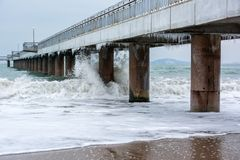 Stormy Winter Black Sea, Burgas Bay, Bulgaria. Winter Landscape. Icicles Hanging On Bridge. Crashing Waves Stock Images