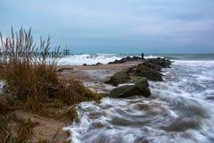 Stormy winter Black Sea landscape in Burgas bay, Bulgaria Stock Image