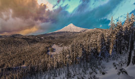 Stormy Winter Vista of Mount Hood in Oregon, USA. Majestic View of Mt. Hood on a stormy evening during the Winter months stock photography