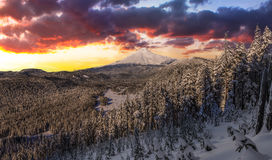Stormy Winter Vista of Mount Hood in Oregon, USA. Majestic View of Mt. Hood on a stormy evening during the Winter months royalty free stock photos