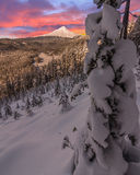 Stormy Winter Vista of Mount Hood in Oregon, USA. Majestic View of Mt. Hood on a stormy evening during the Winter months stock photo