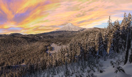Stormy Winter Vista of Mount Hood in Oregon, USA. Majestic View of Mt. Hood on a stormy evening during the Winter months royalty free stock image
