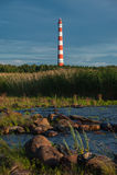 Storojensky lighthouse on the Ladojskoe lake Stock Photos