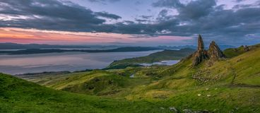 Storr的老人, Trotternish半岛,斯凯岛, Scotla小岛  库存照片