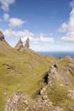 The Storr Rocks on the Isle of Skye. The Storr Rocks on the Jurassic coast of the Isle of Skye in Scotland stock images