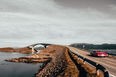 Storsezandet Bridge. Red Car royalty free stock images