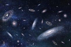 Storskalig struktur av åtskilliga galaxer i djupt universum illustration 3d Royaltyfri Foto