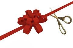 Storslagen öppning med sax och ett rött band, 3d Royaltyfria Bilder
