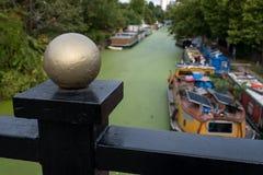 Storslagen facklig kanal på lilla Venedig, Paddington, London Vattnet täckas i gröna alger efter sommarheatwaven, 2018 royaltyfria foton