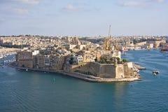 Storslagen hamn, Valletta, huvudstad av Malta arkivfoton
