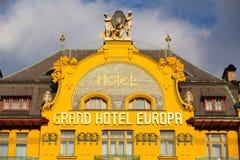 Storslagen hotellEuropa i Prague Royaltyfri Fotografi