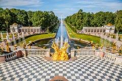 Storslagen kaskad i Peterhof, St Petersburg Royaltyfri Fotografi