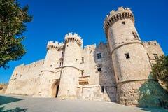 Storslagen ledar- slott i medeltida stad av Rhodes & x28; RHODES GREECE& x29; royaltyfria bilder