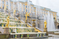 Storslagen Peterhof slott och den storslagna kaskaden, St Petersburg, R Royaltyfria Foton